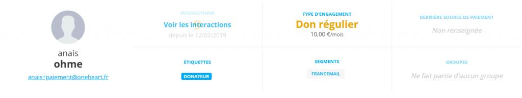 Exemple d'une fiche donateur