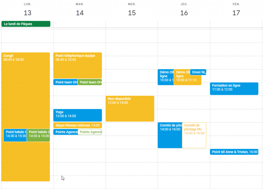 exemple dee planning sur GoogleAgenda