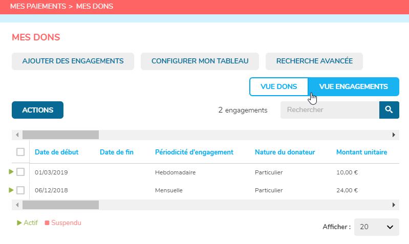 Voici une capure d'écran du CRM OHME montrant les engagements.